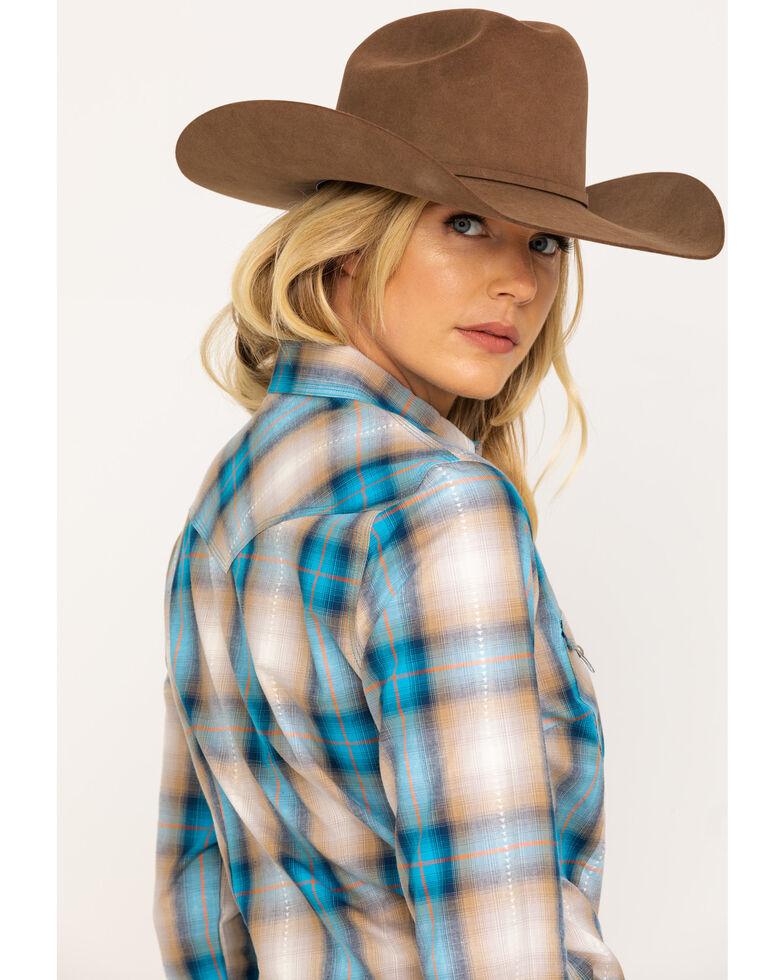 West Made Women's Blue & Yellow Plaid Long Sleeve Western Shirt , Blue, hi-res