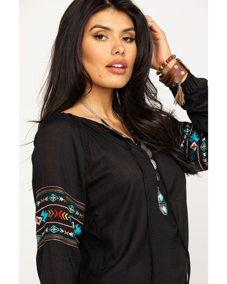 White Label by Panhandle Women's Black Embroidered Peasant Long Sleeve Top, Black, hi-res