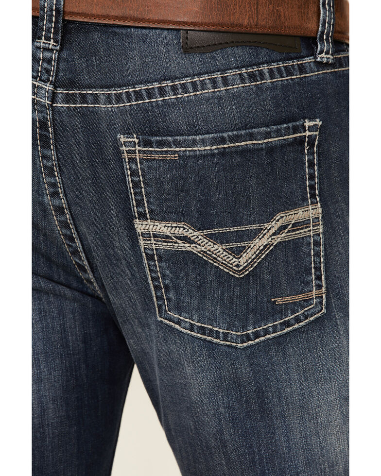 Rock & Roll Denim Men's Dark Pistol Reflex Regular Stretch Bootcut Jeans , Blue, hi-res