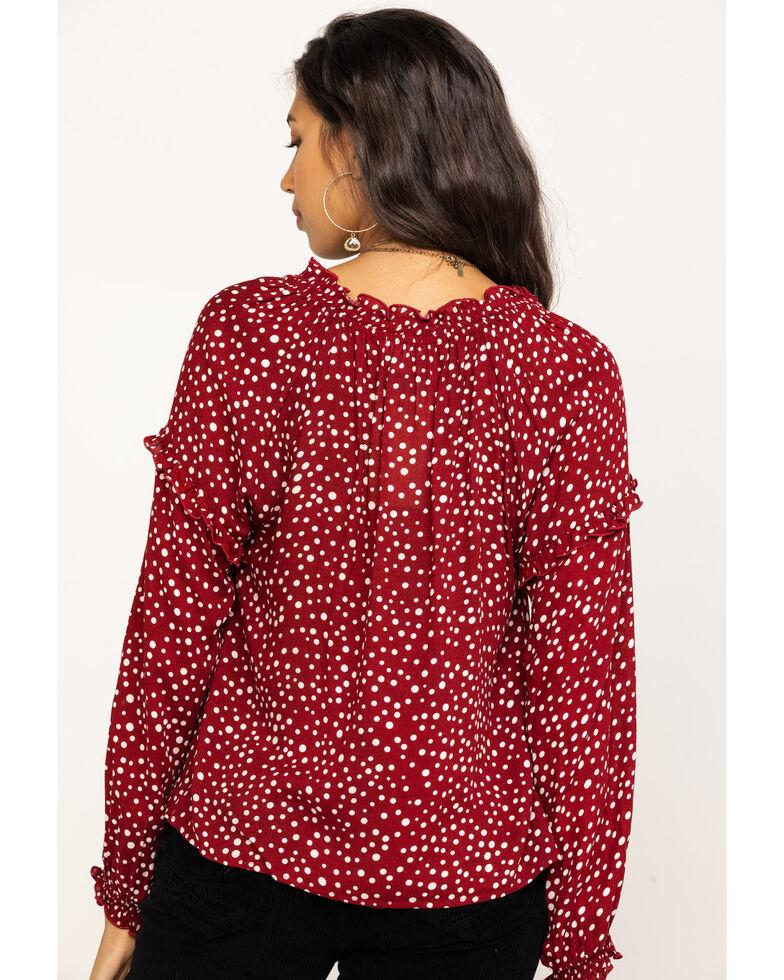 Eyeshadow Women's Burgundy Polka Dot Long Sleeve Top, Burgundy, hi-res