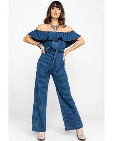Flying Tomato Women's Pinstripe Off Shoulder Belted Jumpsuit, Blue, hi-res