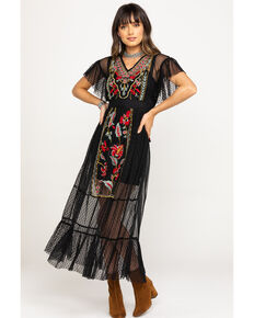 Band of Gypsies Women's Black Puebla Embroidered Dress, Black, hi-res