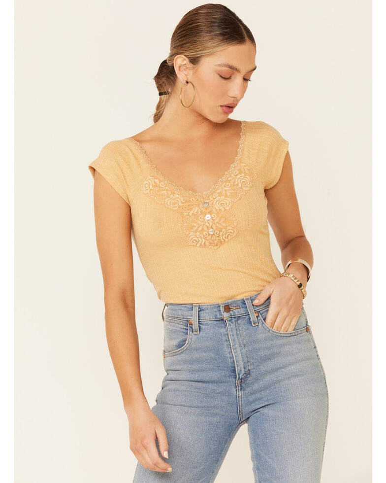 Wild Moss Women's Mustard Ribbed Lace Trim Short Sleeve Henley Top, Dark Yellow, hi-res