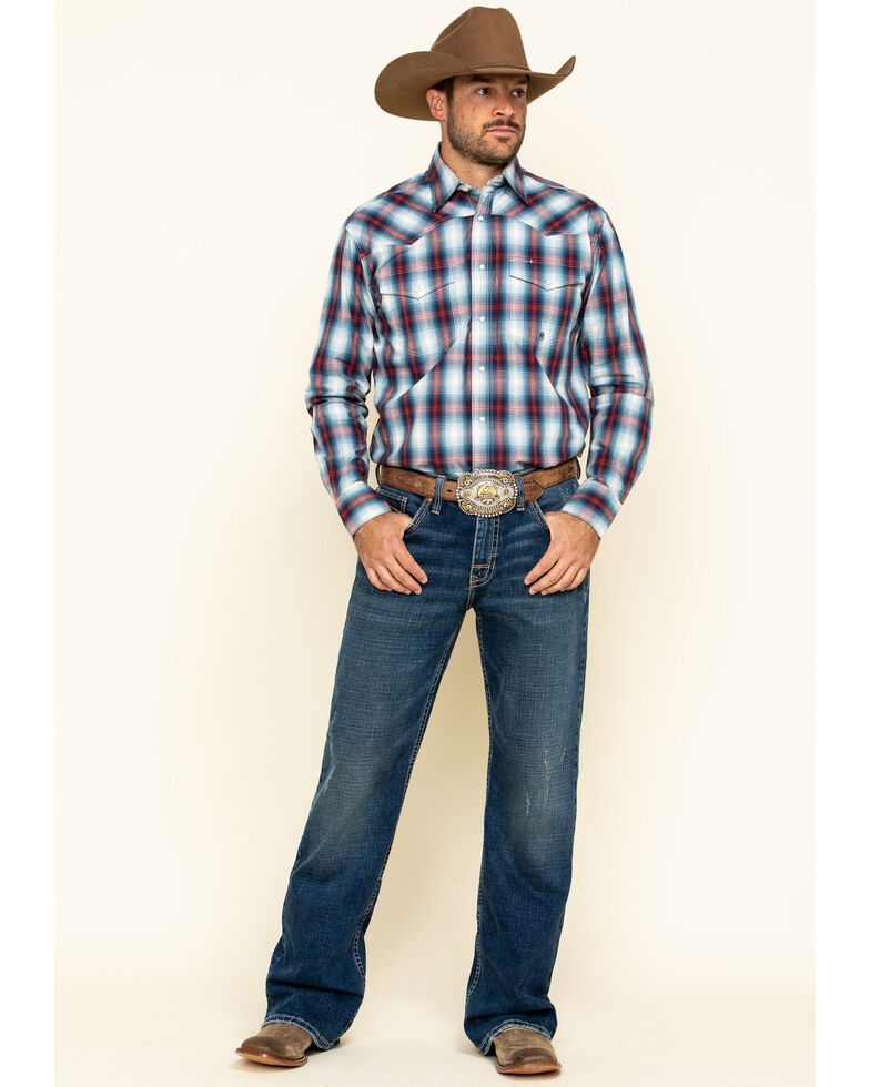 Roper Men's Amarillo Denim Ombre Plaid Long Sleeve Western Shirt , Blue, hi-res