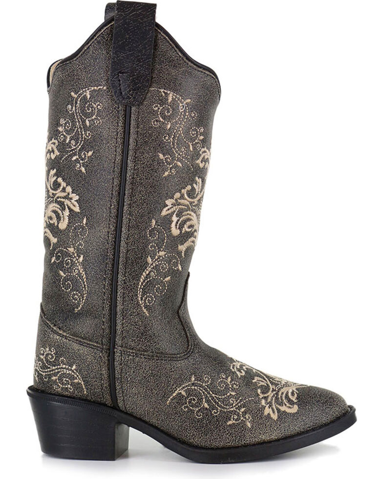Shyanne Girls' Filigree Embroidered Western Boots - Round Toe, Grey, hi-res
