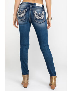 Miss Me Women's Angel Wing Medium Skinny Jeans, Blue, hi-res