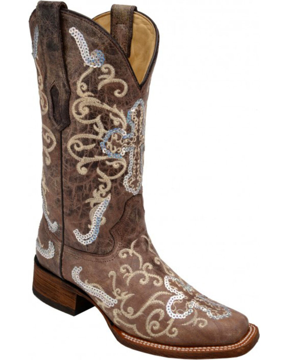 Corral Silver Sequin Cross Cowgirl Boots - Wide Square Toe, Tobacco, hi-res