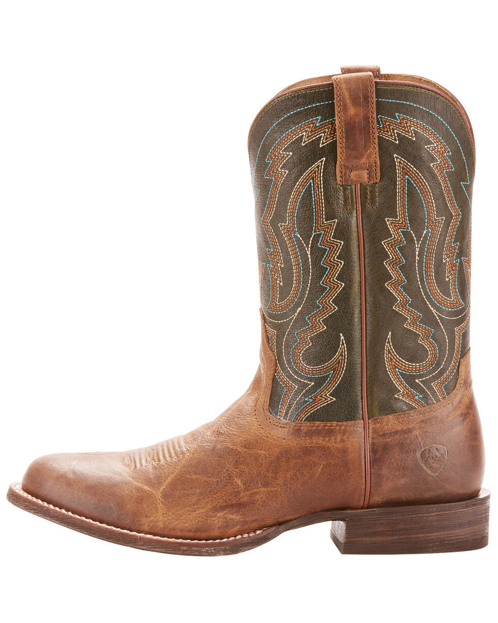 Ariat Men's Circuit Competitor Rifle Green Cowboy Boots - Round Toe, Lt Brown, hi-res