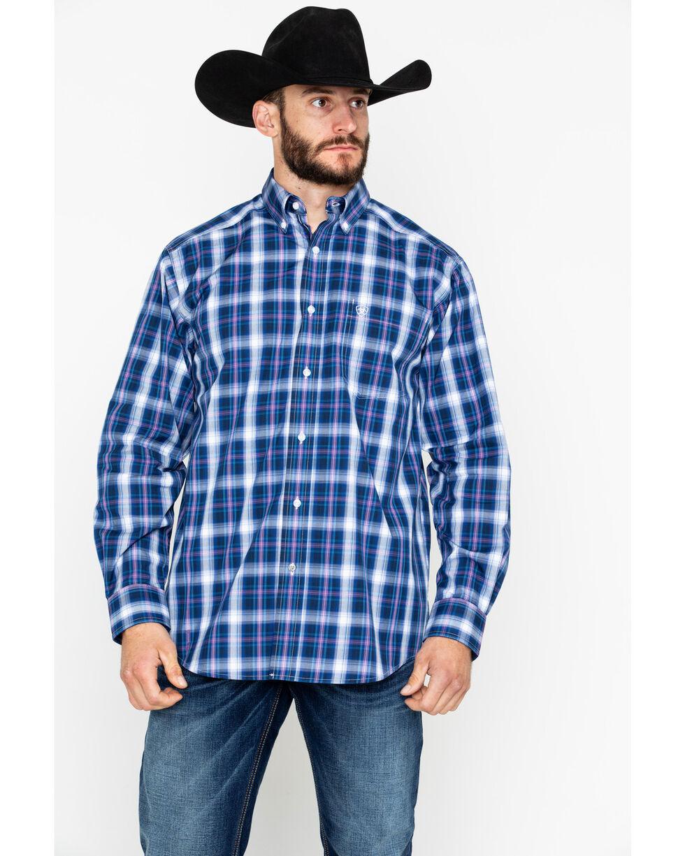 Ariat Men's Achman Plaid Long Sleeve Western Shirt, Blue, hi-res