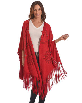 Tesoro Moda Women's Red Fringe Shawl, Red, hi-res