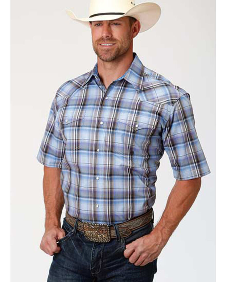 Amarillo Men's Cool Breeze Plaid Short Sleeve Western Shirt , Blue, hi-res