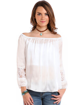 Panhandle Women's White Satin Peasant Top, White, hi-res