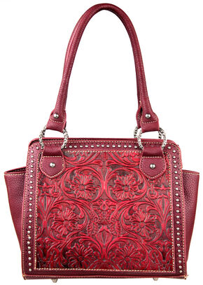 Montana West Trinity Ranch Red Tooled Design Handbag, Red, hi-res