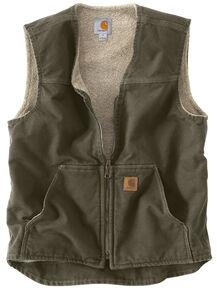 Carhartt Sandstone Duck Work Vest - Big & Tall, Moss Green, hi-res