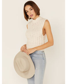 By Together Women's Solid Cream Sweater Tank, Cream, hi-res