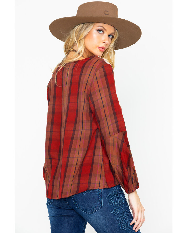 Shyanne Women's Embroidered Peasant Lace Yoke Plaid Long Sleeve Top , Rust Copper, hi-res