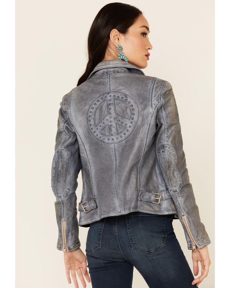 Mauritius Leather Women's Blue Leather Peace Sign Moto Jacket, Blue, hi-res