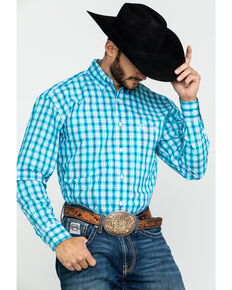 George Strait By Wrangler Men's Med Plaid Long Sleeve Western Shirt - Big , Turquoise, hi-res