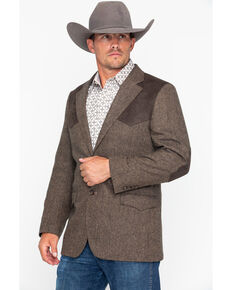 Cody James Men's Button Patched Western Sportcoat , Brown, hi-res