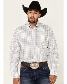 Cinch Men's White Large Plaid Long Sleeve Western Shirt , White, hi-res