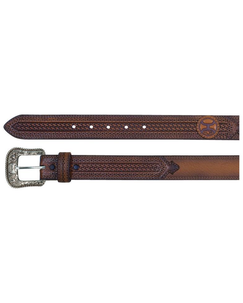 HOOey Men's Russet Lazer Cut Belt, Brown, hi-res