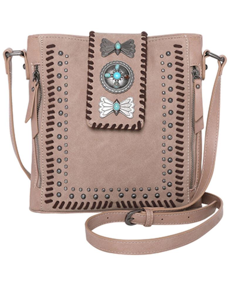 Montana West Women's Wrangler Butterfly Concho Crossbody Bag, Tan, hi-res