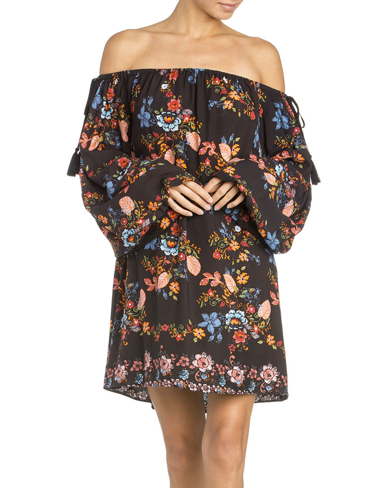 e8f5593fd55e Miss Me Women s Black Off-The-Shoulder Flounce Dress - Country Outfitter