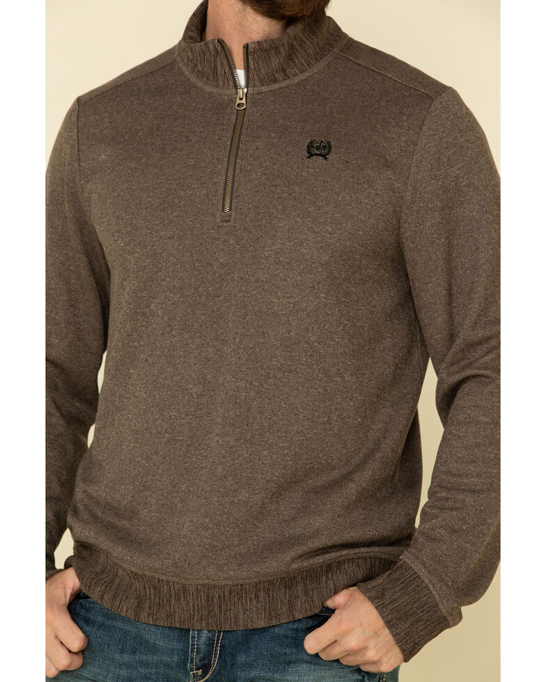 Cinch Men's Brown 1/4 Zip Sweater Knit Pullover Sweatshirt , Brown, hi-res