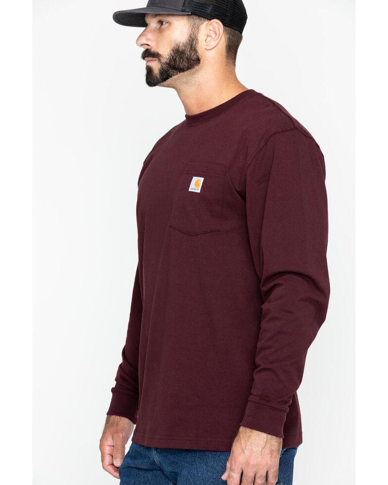 Carhartt Men's Solid Pocket Long Sleeve Work T-Shirt, Port, hi-res