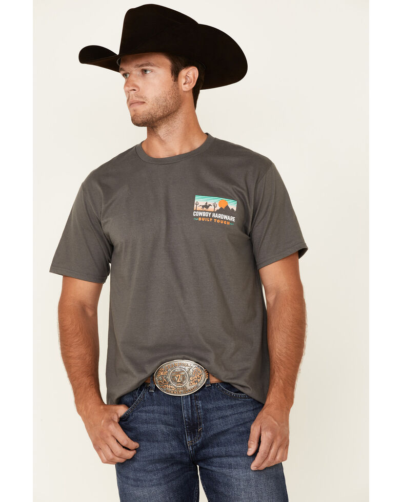 Cowboy Hardware Men's Charcoal Built Tough Desert Graphic Short Sleeve T-Shirt , Charcoal, hi-res