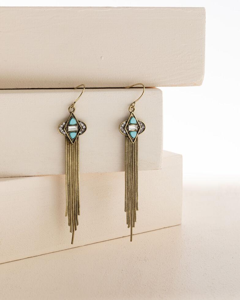 Shyanne Women's Gilded Gold Diamond Tassel Earrings, Gold, hi-res