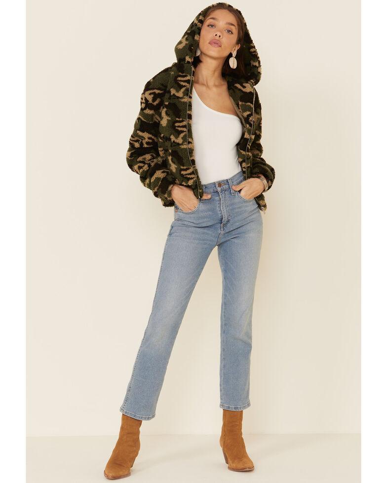 Peach Love Women's Green Camo Hooded Zip Front Jacket , Green, hi-res