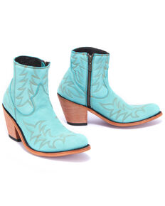 Liberty Black Women's Nubuck Grease Turquesa Fashion Booties - Round Toe, Turquoise, hi-res