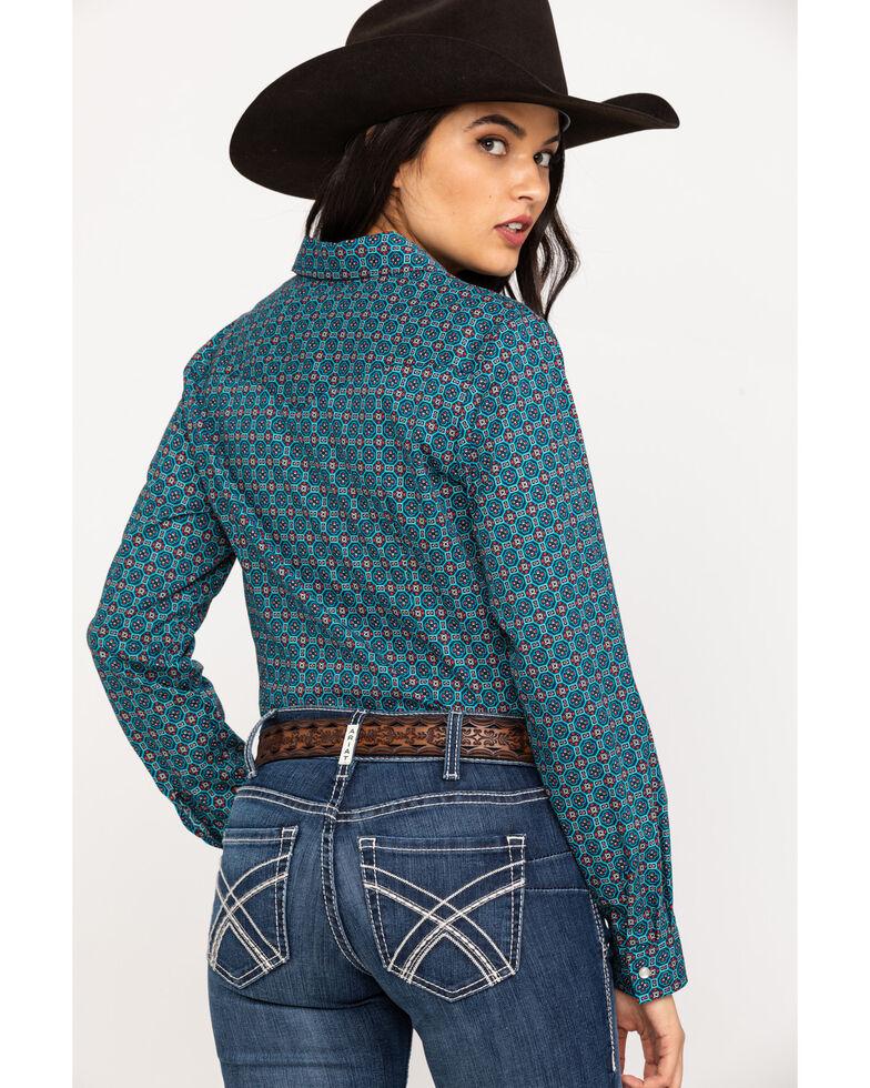 Roper Women's Blue Geo Print Long Sleeve Western Shirt, Blue, hi-res