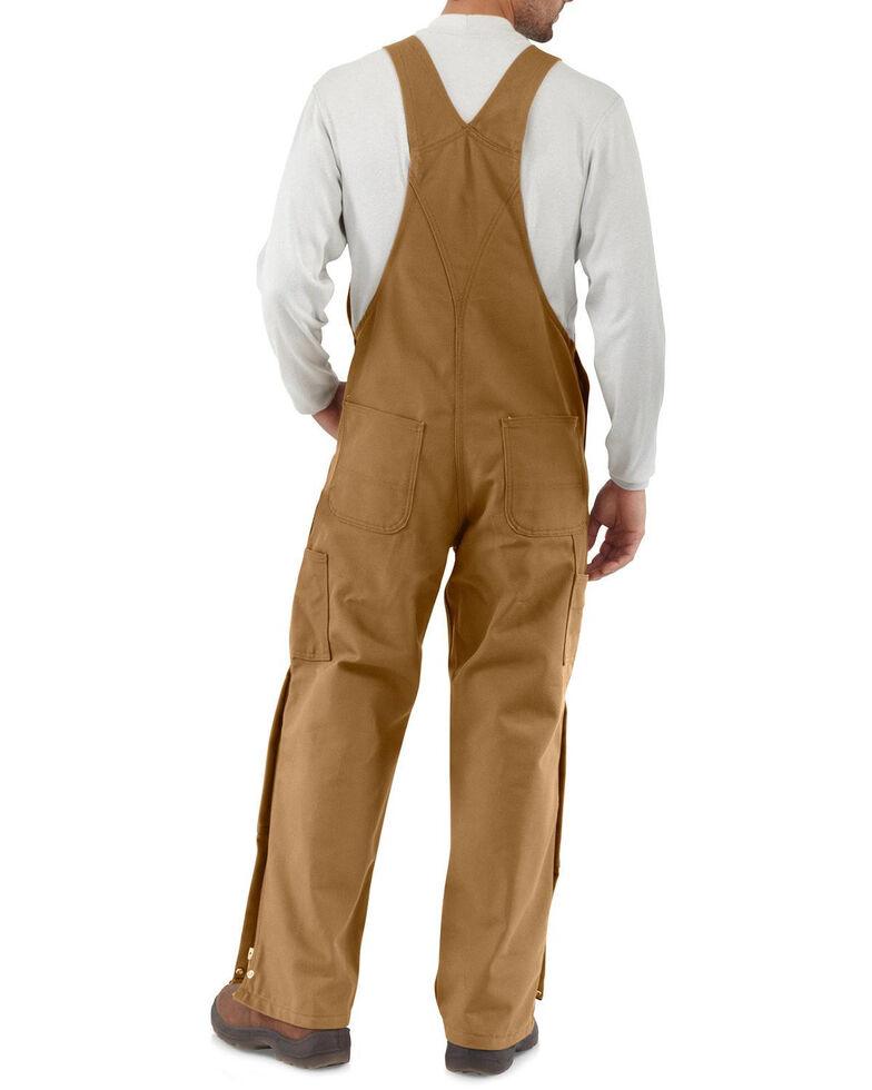 Carhartt Men's Flame-Resistant Duck Bib Overalls - Big , Brown, hi-res