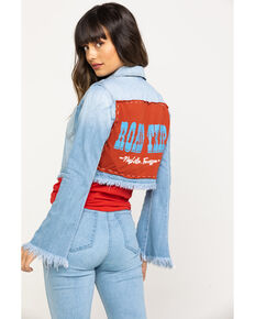 Bohemian Cowboy Women's Light Wash Nashville Back Patch Bell Sleeve Denim Jacket, Blue, hi-res