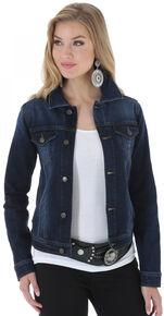 Wrangler Women's Denim Button Front Jacket , Denim, hi-res