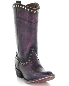 Corral Women's Distressed Wine Zipper & Studs Western Boots - Round Toe, Wine, hi-res