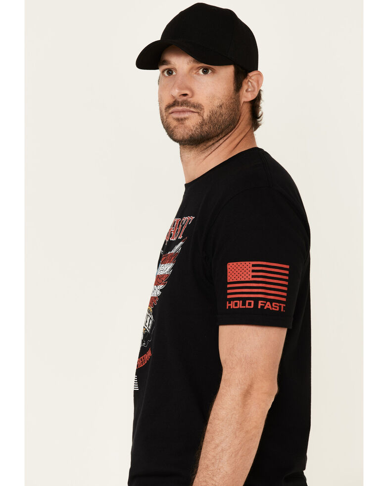 Hold Fast Men's Live Free Eagle Flag Logo Short Sleeve T-Shirt , Black, hi-res