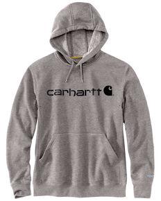 Carhartt Men's Grey Force Delmont Signature Graphic Hooded Work Sweatshirt , Heather Grey, hi-res