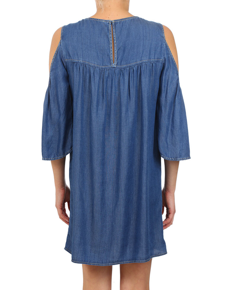 Glam Women's Tencel Cold Shoulder Dress , Indigo, hi-res