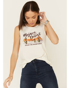 Cut & Paste Women's Ivory Mojave Desert Graphic Muscle Tank Top, Ivory, hi-res