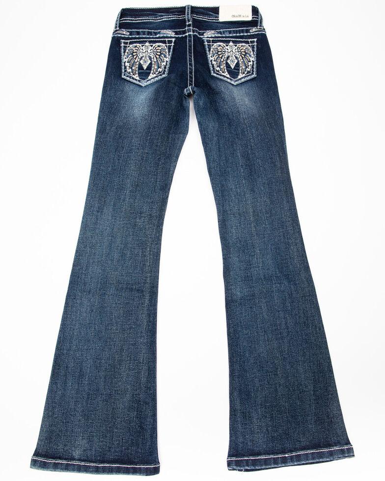 Grace in LA Girls' Winged Bootcut Jeans , Blue, hi-res
