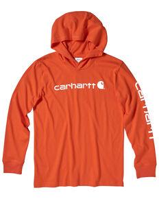 Carhartt Boys' 4-7 Orange Logo Sleeve Hooded Sweatshirt , Brown, hi-res