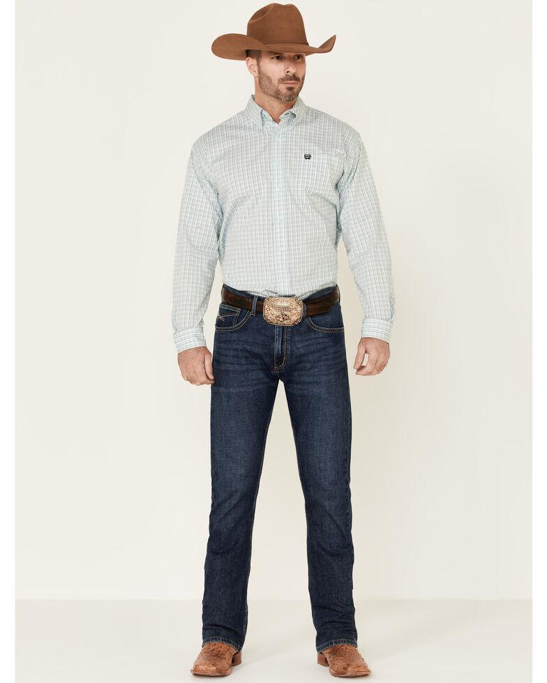 Cinch Men's Light Blue Stretch Small Plaid Long Sleeve Western Shirt , Light Blue, hi-res