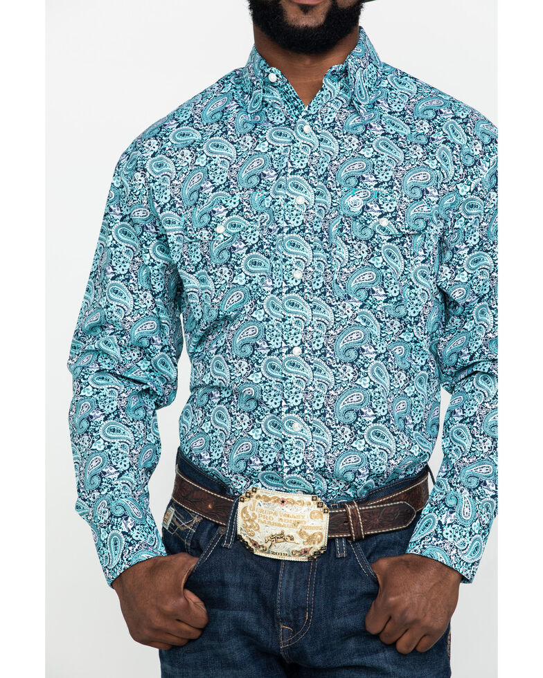 George Strait By Wrangler Turquoise Paisley Print Long Sleeve Western Shirt , Turquoise, hi-res
