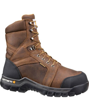 "Carhartt Men's Brown 8"" Internal Met Guard Work Boots - Safety Toe , Brown, hi-res"