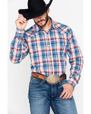 Roper Men's Amarillo Indigo Plaid Snap Long Sleeve Western Shirt , Blue, hi-res
