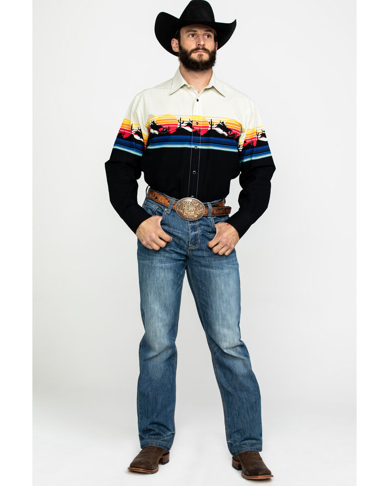 Panhandle Men's Natural Rodeo Border Print Long Sleeve Western Shirt , Natural, hi-res