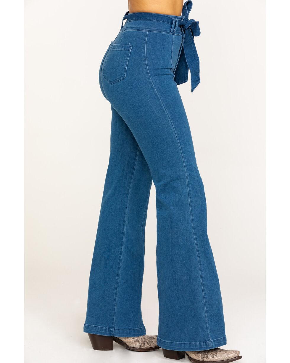 Flying Tomato Women's Tie High Waist Trouser, Blue, hi-res